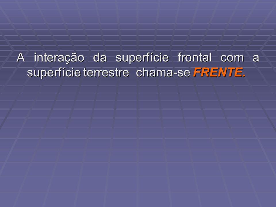 A interação da superfície frontal com a superfície terrestre chama-se FRENTE.