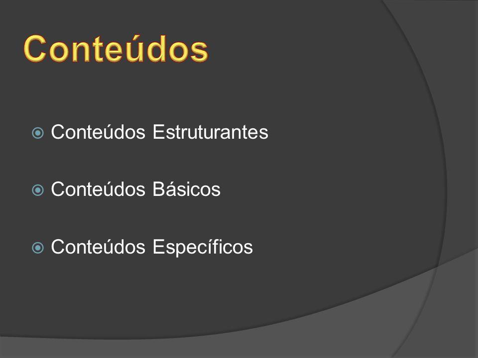 Conteúdos Estruturantes Conteúdos Básicos Conteúdos Específicos