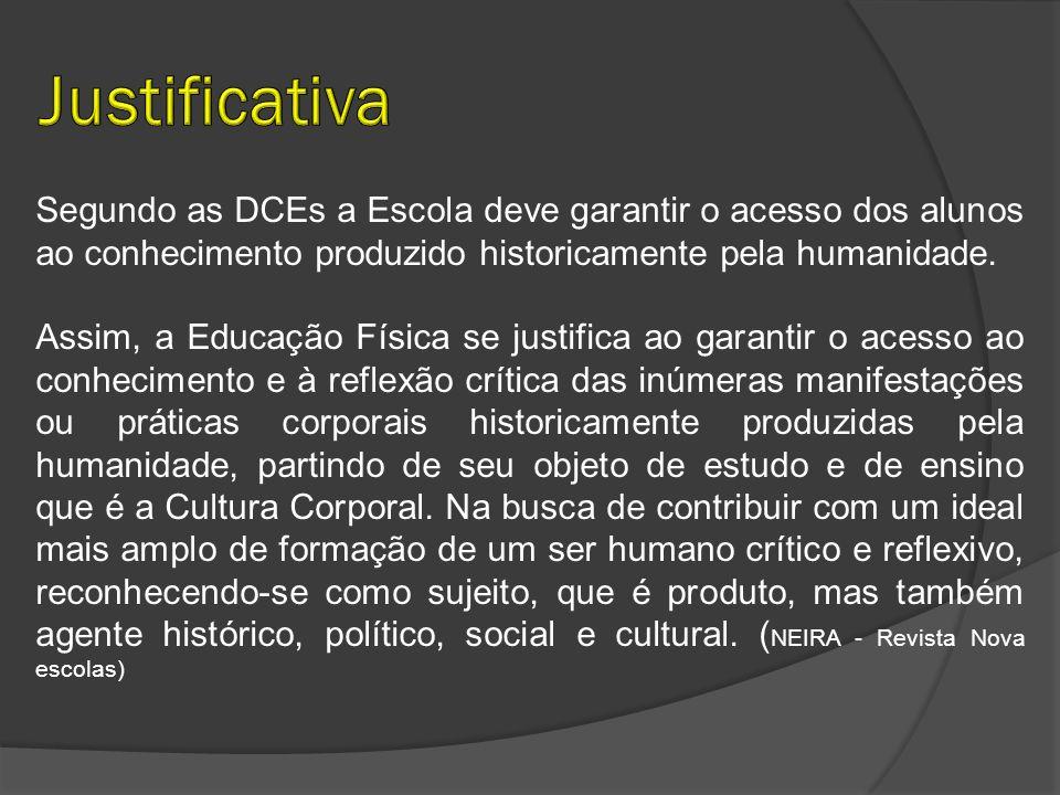 Justificativa Segundo as DCEs a Escola deve garantir o acesso dos alunos ao conhecimento produzido historicamente pela humanidade.