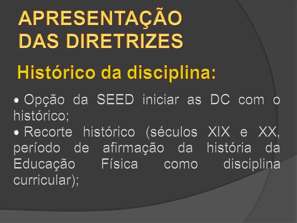 APRESENTAÇÃO DAS DIRETRIZES Histórico da disciplina: