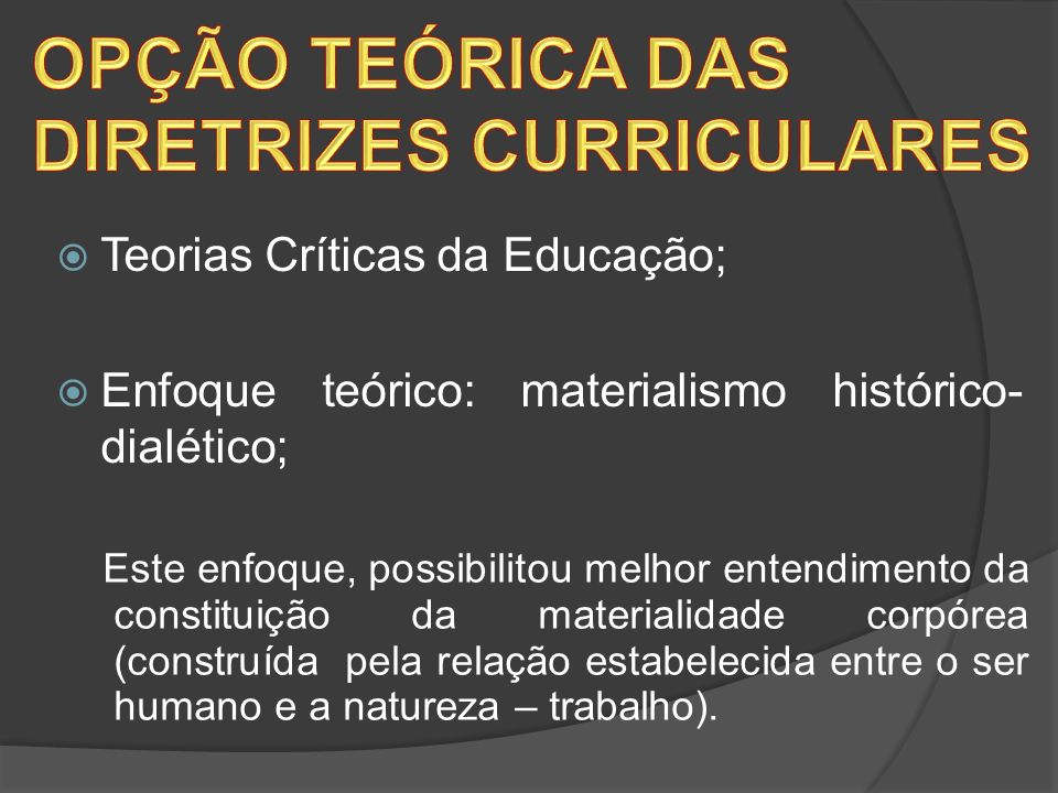 OPÇÃO TEÓRICA DAS DIRETRIZES CURRICULARES