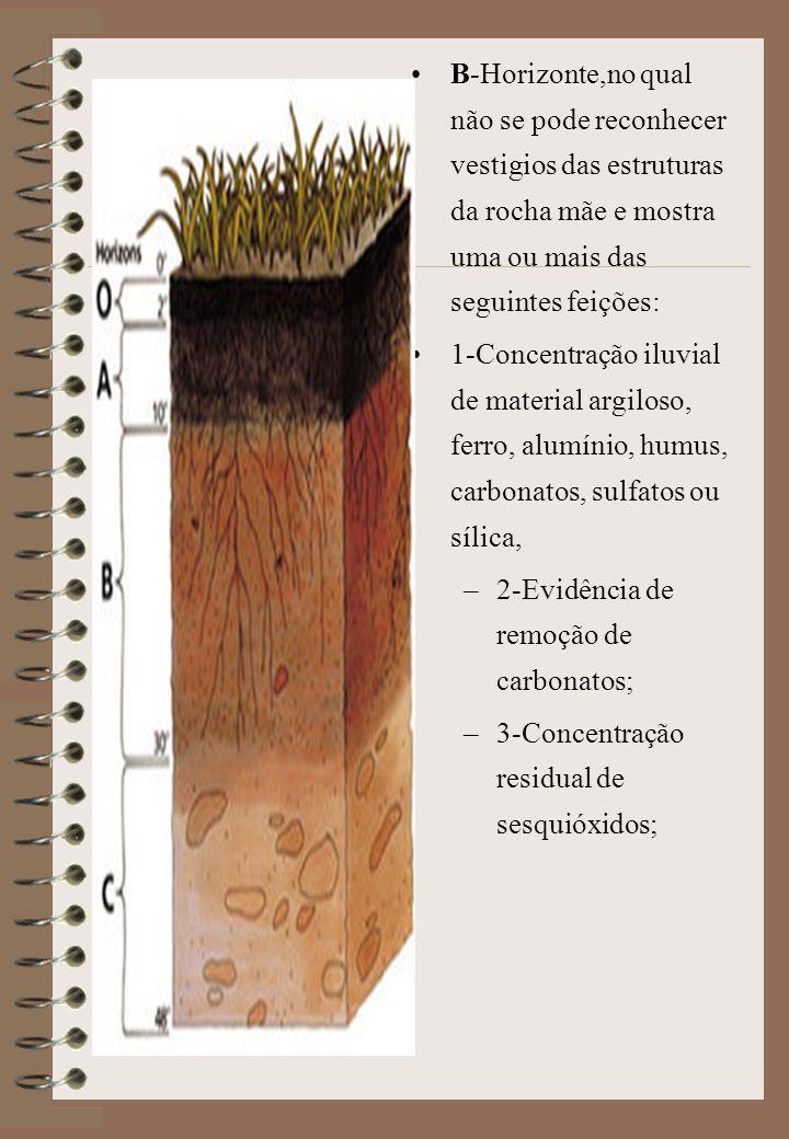 B-Horizonte,no qual não se pode reconhecer vestigios das estruturas da rocha mãe e mostra uma ou mais das seguintes feições: