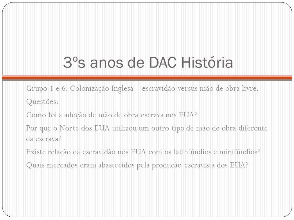 3ºs anos de DAC História Grupo 1 e 6: Colonização Inglesa – escravidão versus mão de obra livre. Questões: