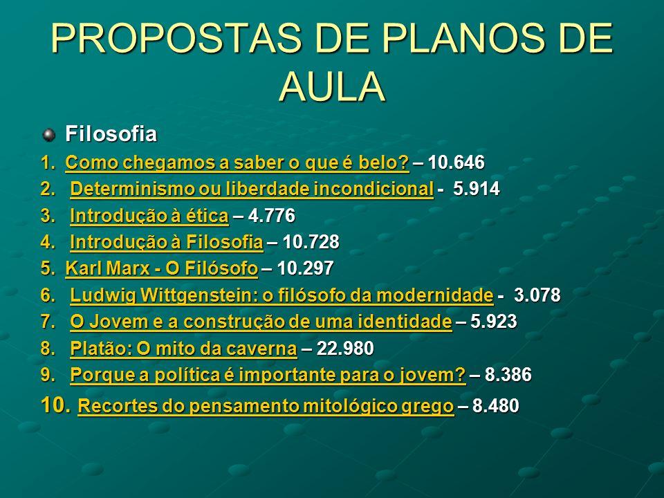 PROPOSTAS DE PLANOS DE AULA