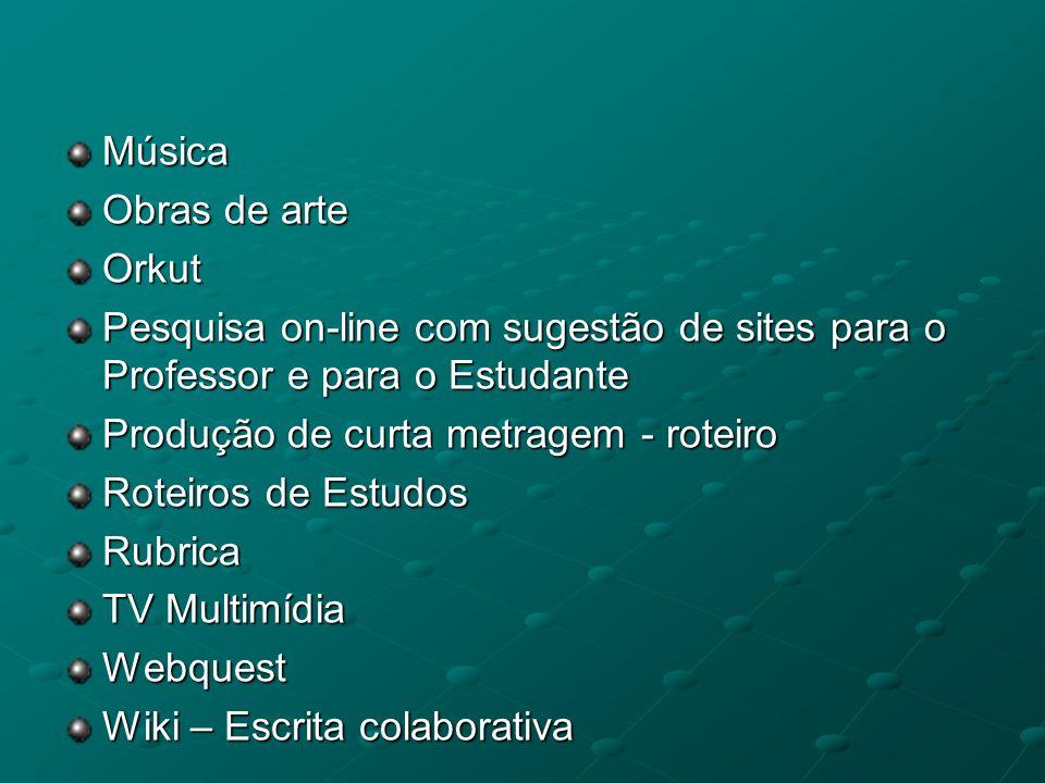 Música Obras de arte. Orkut. Pesquisa on-line com sugestão de sites para o Professor e para o Estudante.