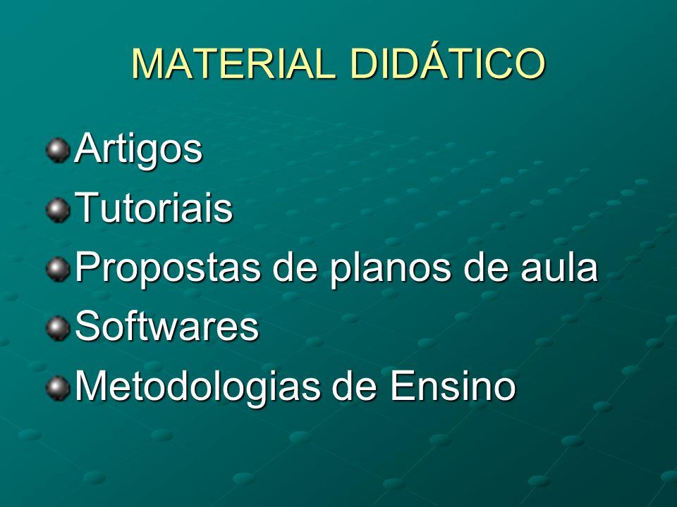 MATERIAL DIDÁTICO Artigos Tutoriais Propostas de planos de aula Softwares Metodologias de Ensino