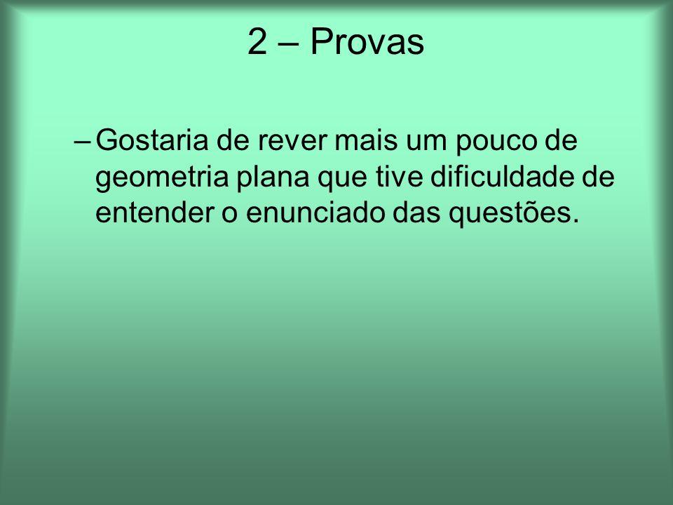 2 – ProvasGostaria de rever mais um pouco de geometria plana que tive dificuldade de entender o enunciado das questões.