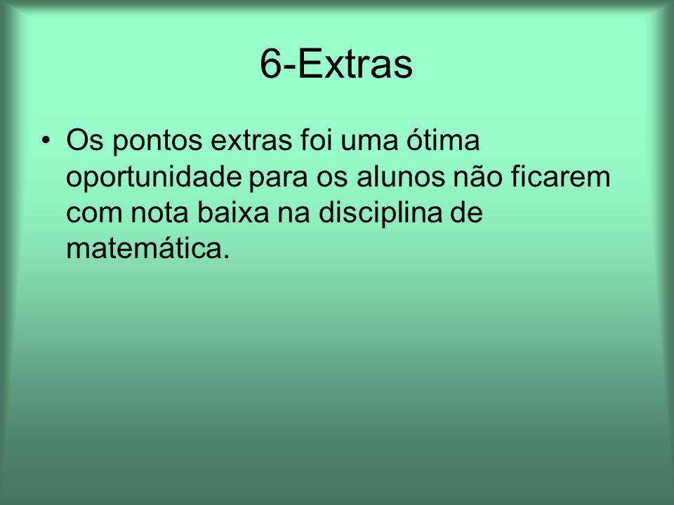 6-ExtrasOs pontos extras foi uma ótima oportunidade para os alunos não ficarem com nota baixa na disciplina de matemática.