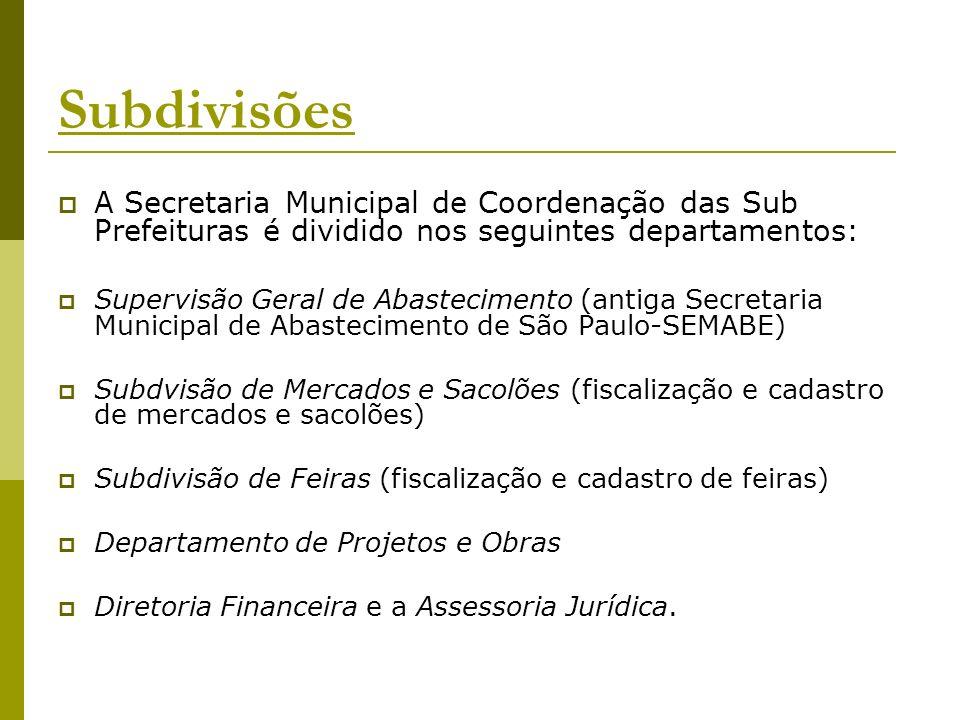 Subdivisões A Secretaria Municipal de Coordenação das Sub Prefeituras é dividido nos seguintes departamentos: