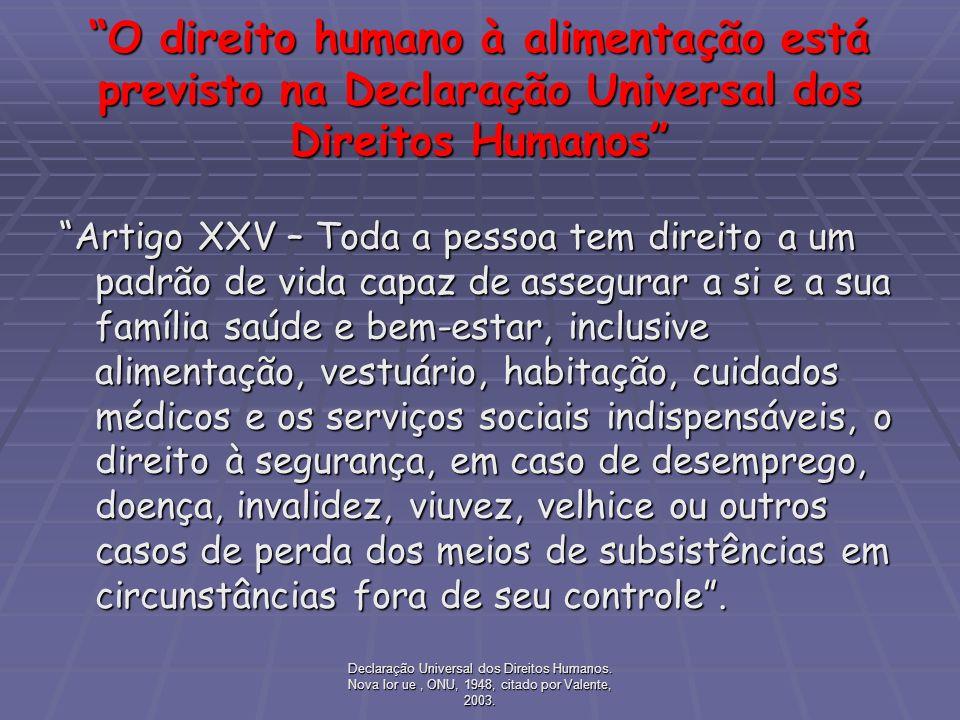 O direito humano à alimentação está previsto na Declaração Universal dos Direitos Humanos