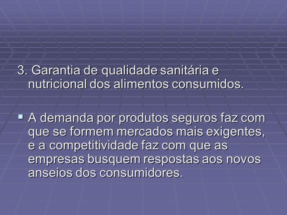 3. Garantia de qualidade sanitária e nutricional dos alimentos consumidos.