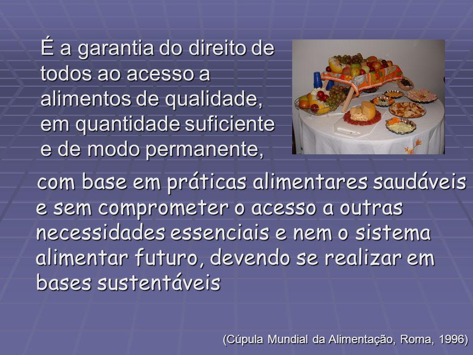 É a garantia do direito de todos ao acesso a alimentos de qualidade, em quantidade suficiente e de modo permanente,