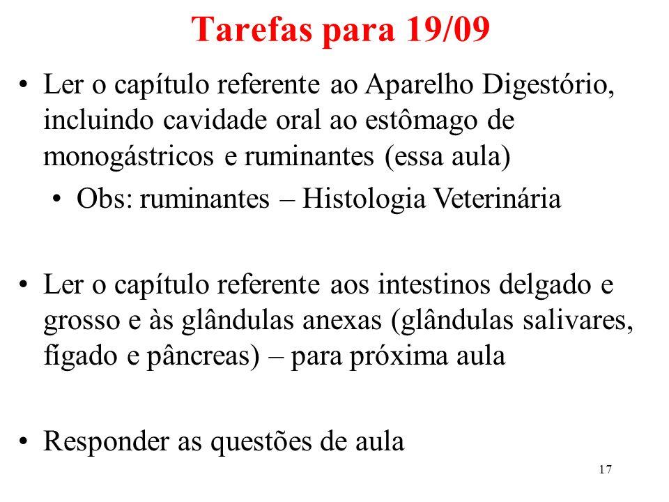 Tarefas para 19/09 Ler o capítulo referente ao Aparelho Digestório, incluindo cavidade oral ao estômago de monogástricos e ruminantes (essa aula)