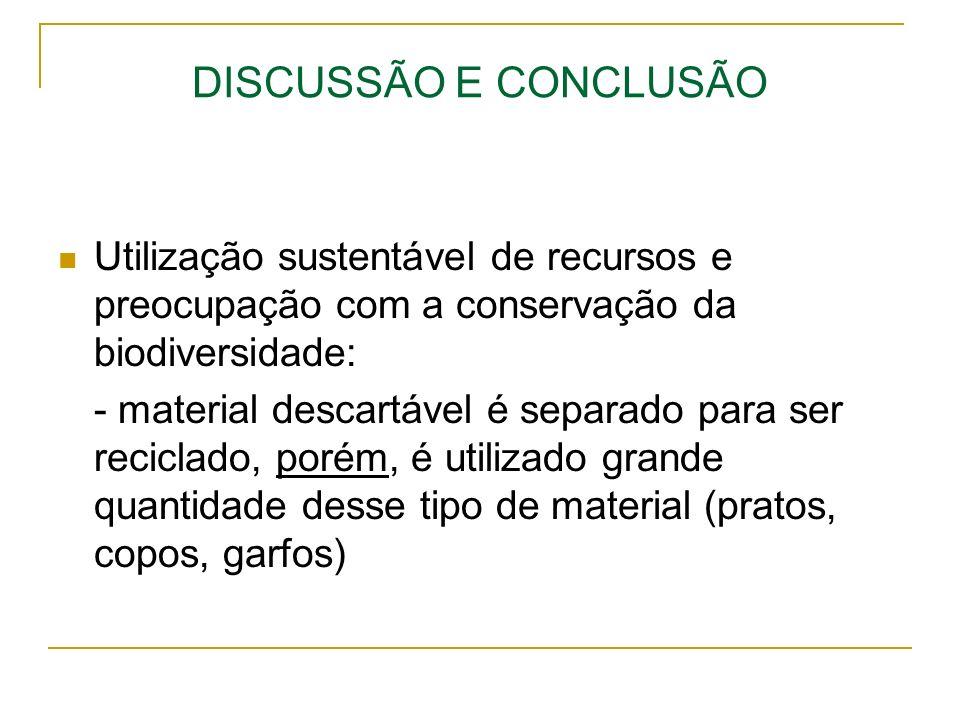 DISCUSSÃO E CONCLUSÃO Utilização sustentável de recursos e preocupação com a conservação da biodiversidade: