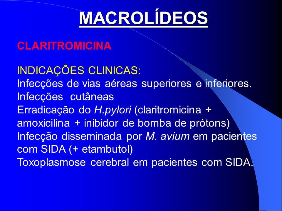 MACROLÍDEOS CLARITROMICINA INDICAÇÕES CLINICAS: