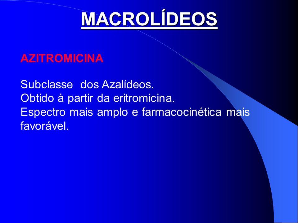 MACROLÍDEOS AZITROMICINA Subclasse dos Azalídeos.
