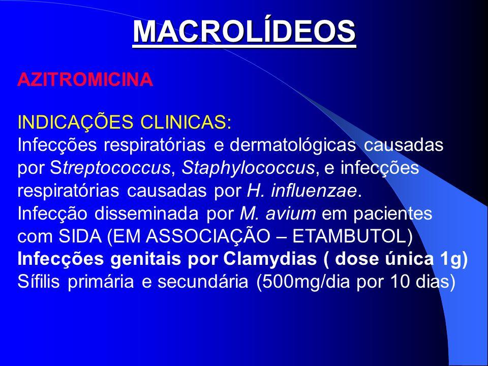 MACROLÍDEOS AZITROMICINA INDICAÇÕES CLINICAS: