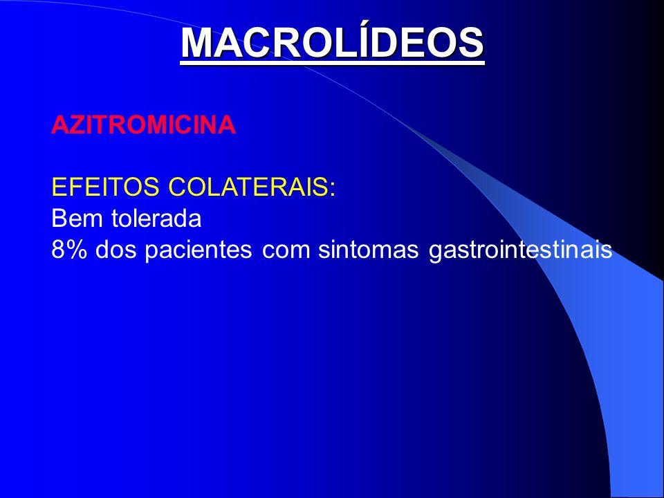 MACROLÍDEOS AZITROMICINA EFEITOS COLATERAIS: Bem tolerada