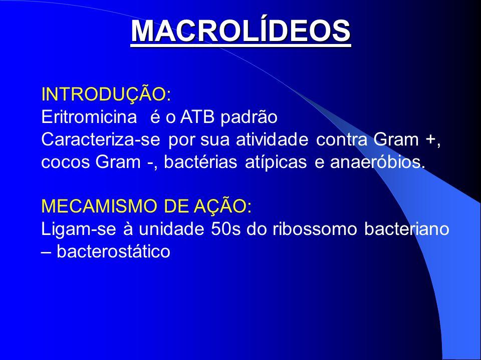 MACROLÍDEOS INTRODUÇÃO: Eritromicina é o ATB padrão