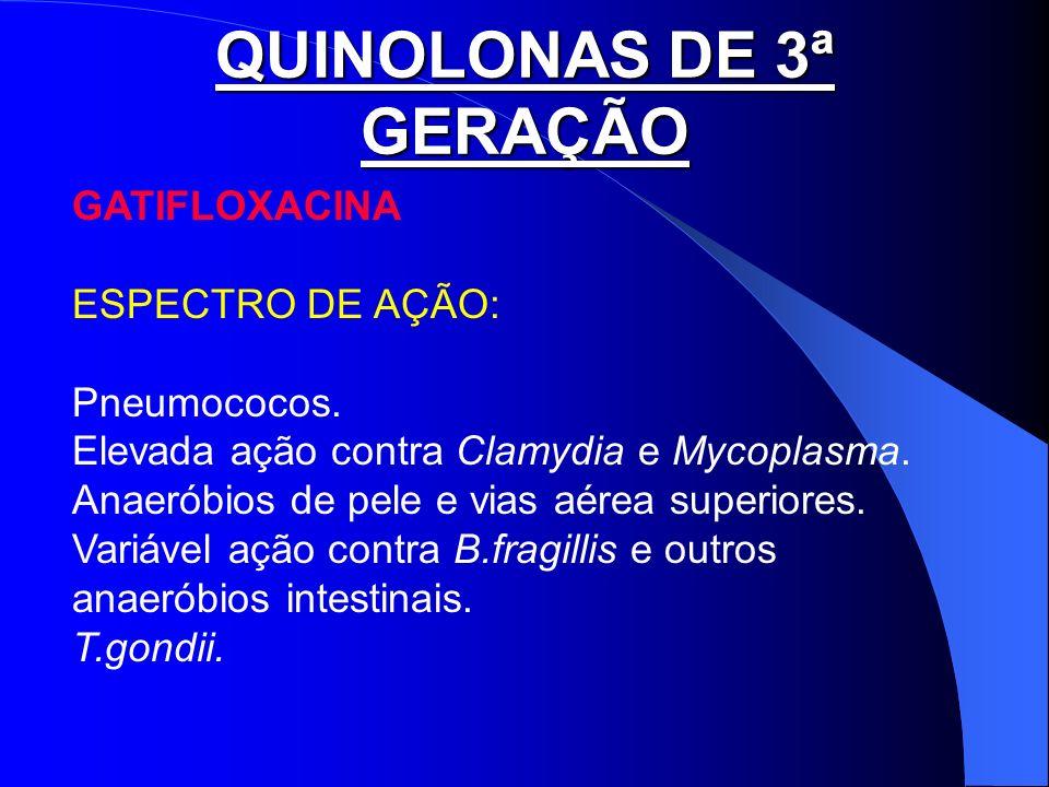 QUINOLONAS DE 3ª GERAÇÃO