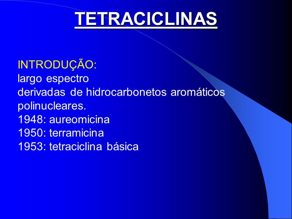 TETRACICLINAS INTRODUÇÃO: largo espectro