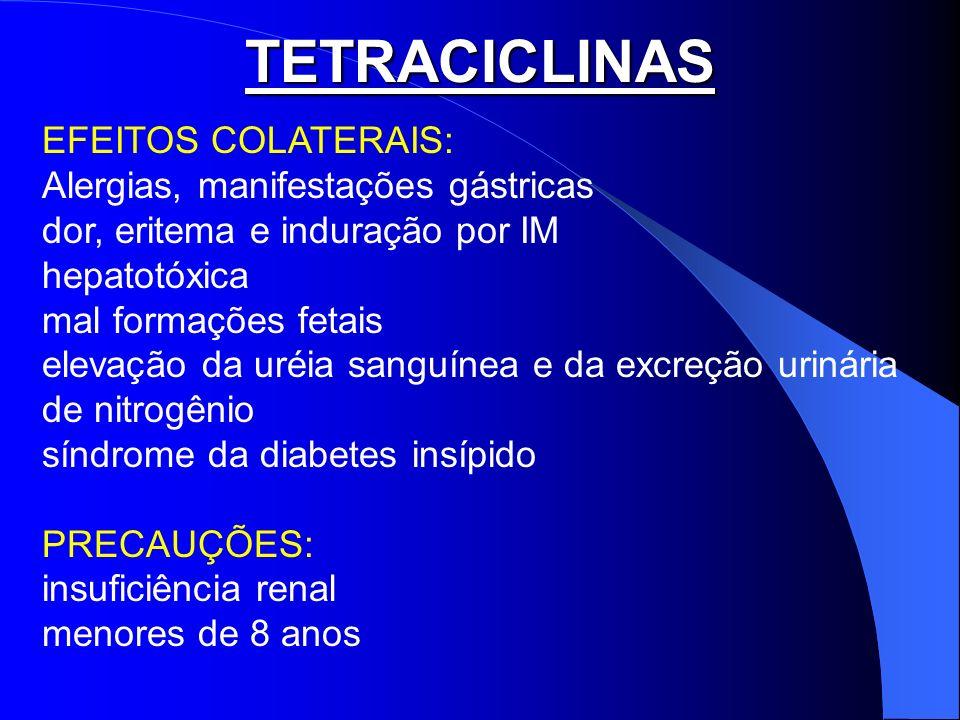 TETRACICLINAS EFEITOS COLATERAIS: Alergias, manifestações gástricas