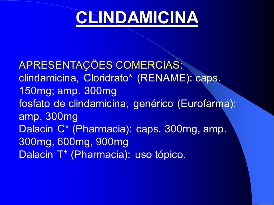 CLINDAMICINA APRESENTAÇÕES COMERCIAS: