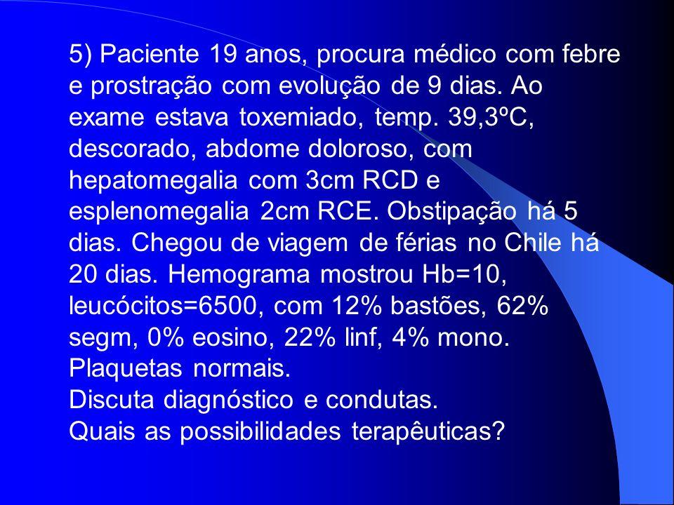 5) Paciente 19 anos, procura médico com febre e prostração com evolução de 9 dias. Ao exame estava toxemiado, temp. 39,3ºC, descorado, abdome doloroso, com hepatomegalia com 3cm RCD e esplenomegalia 2cm RCE. Obstipação há 5 dias. Chegou de viagem de férias no Chile há 20 dias. Hemograma mostrou Hb=10, leucócitos=6500, com 12% bastões, 62% segm, 0% eosino, 22% linf, 4% mono. Plaquetas normais.