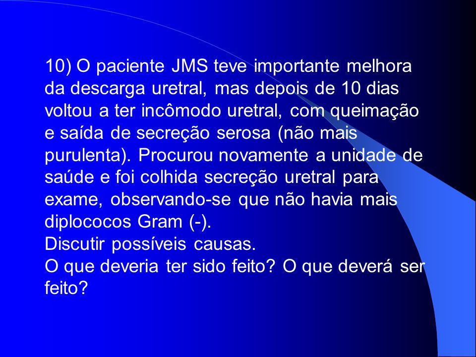 10) O paciente JMS teve importante melhora da descarga uretral, mas depois de 10 dias voltou a ter incômodo uretral, com queimação e saída de secreção serosa (não mais purulenta). Procurou novamente a unidade de saúde e foi colhida secreção uretral para exame, observando-se que não havia mais diplococos Gram (-).