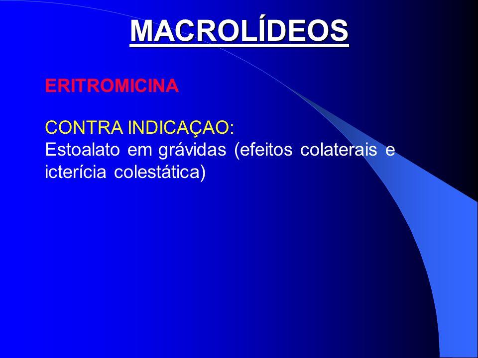MACROLÍDEOS ERITROMICINA CONTRA INDICAÇAO: