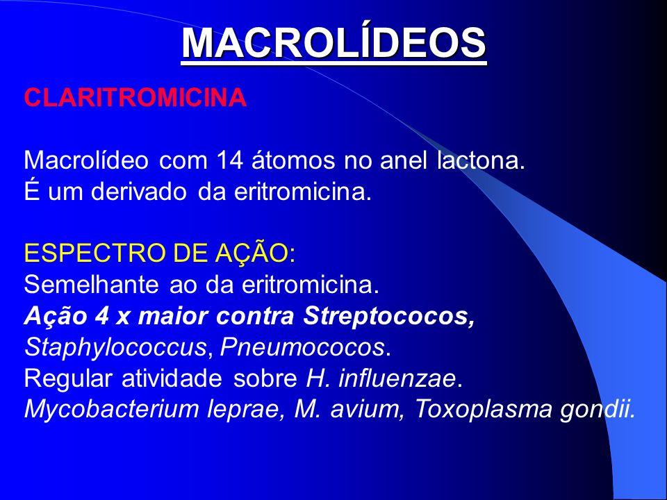 MACROLÍDEOS CLARITROMICINA Macrolídeo com 14 átomos no anel lactona.