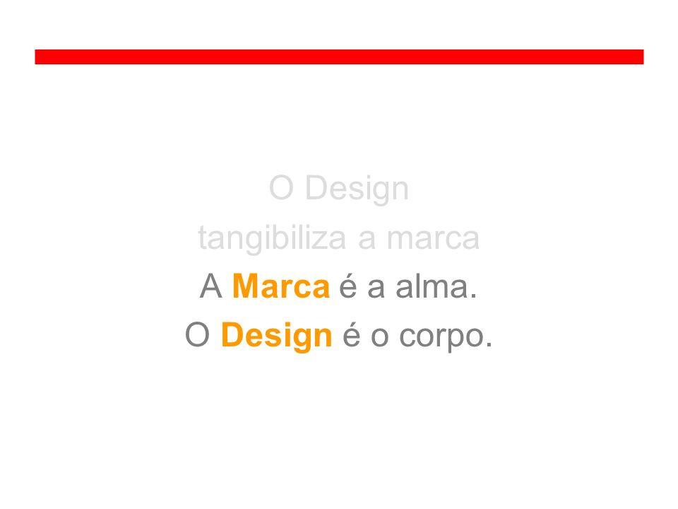 O Design tangibiliza a marca A Marca é a alma. O Design é o corpo.