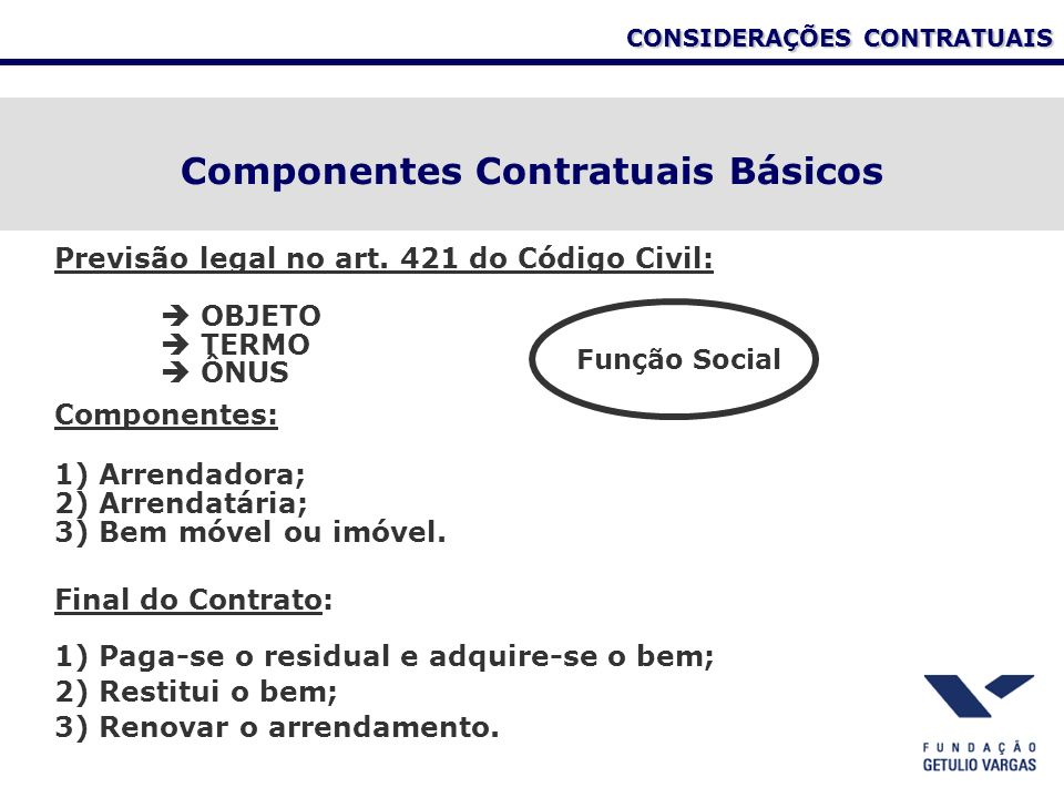 Componentes Contratuais Básicos