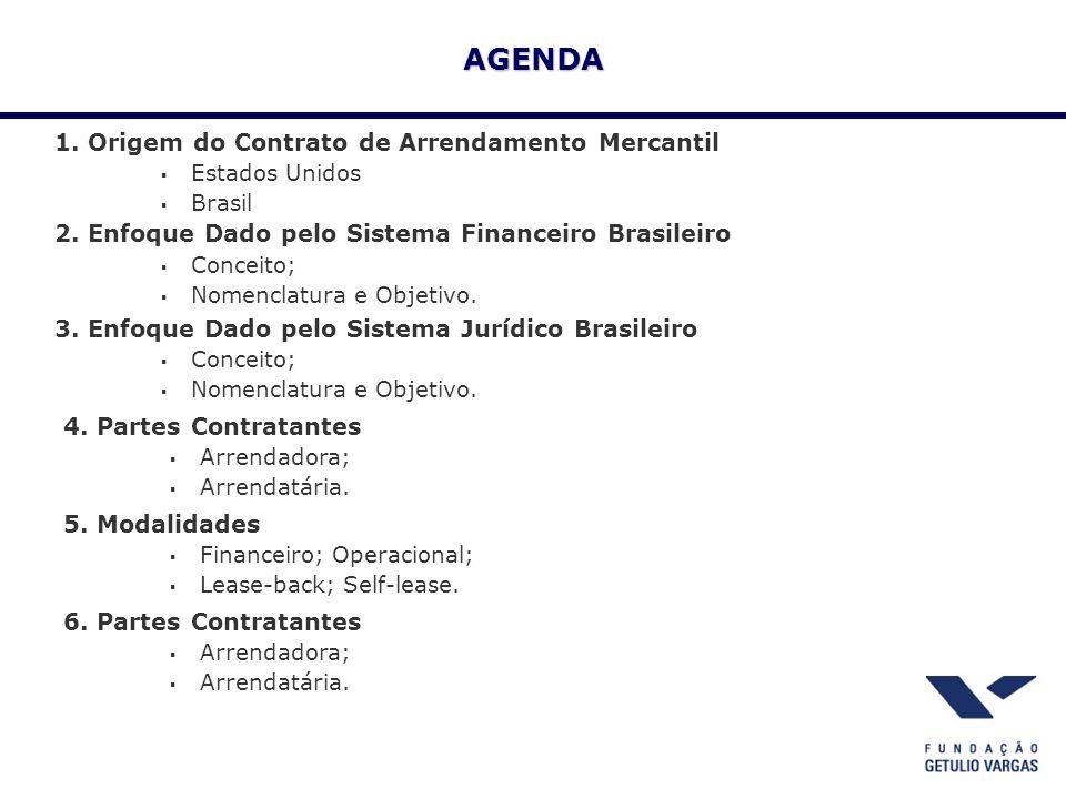 AGENDA 1. Origem do Contrato de Arrendamento Mercantil