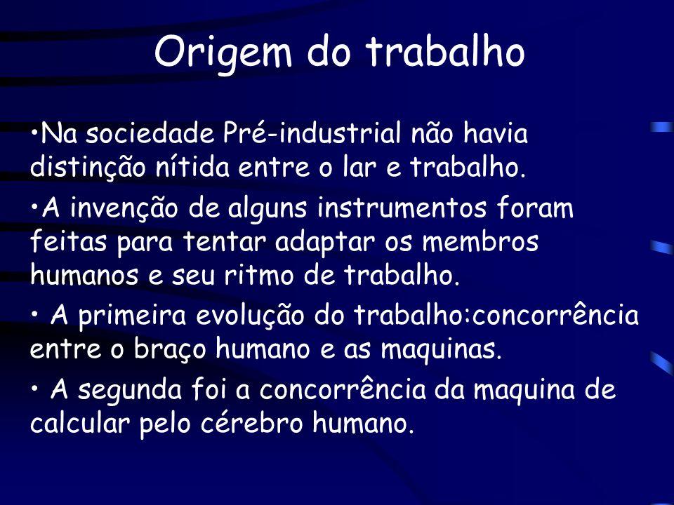 Origem do trabalhoNa sociedade Pré-industrial não havia distinção nítida entre o lar e trabalho.