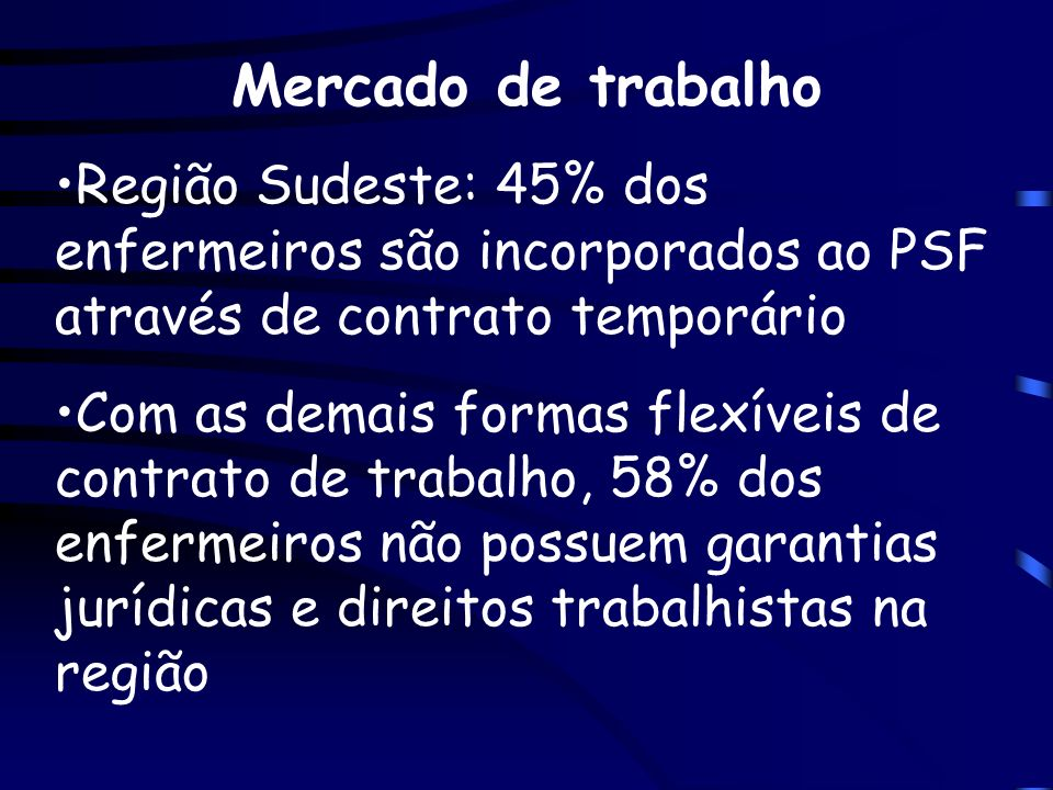Mercado de trabalhoRegião Sudeste: 45% dos enfermeiros são incorporados ao PSF através de contrato temporário.