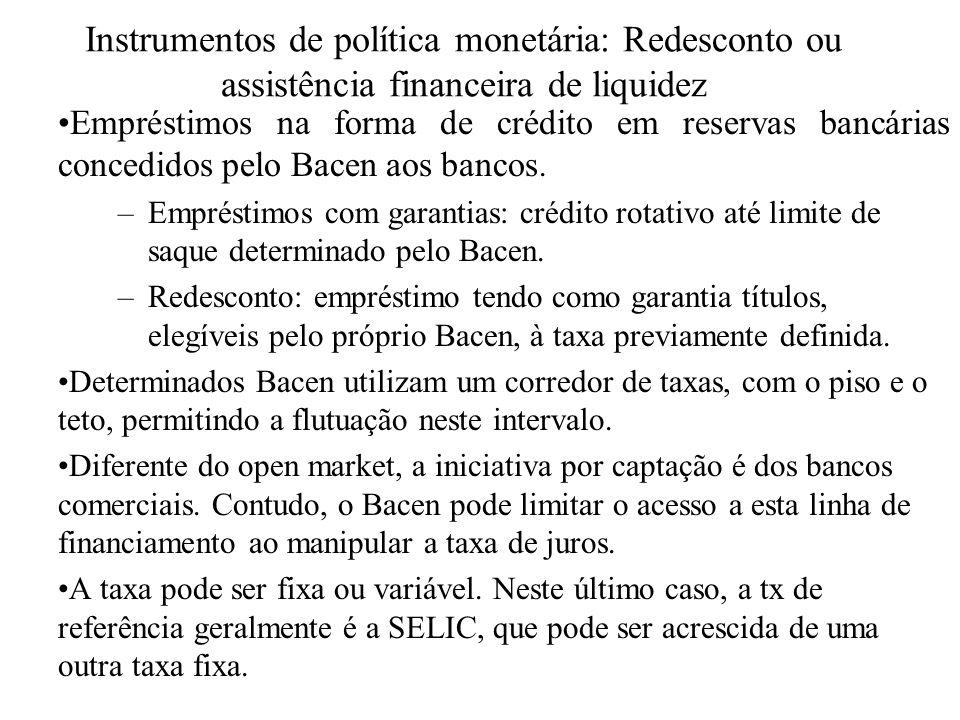 Instrumentos de política monetária: Redesconto ou assistência financeira de liquidez