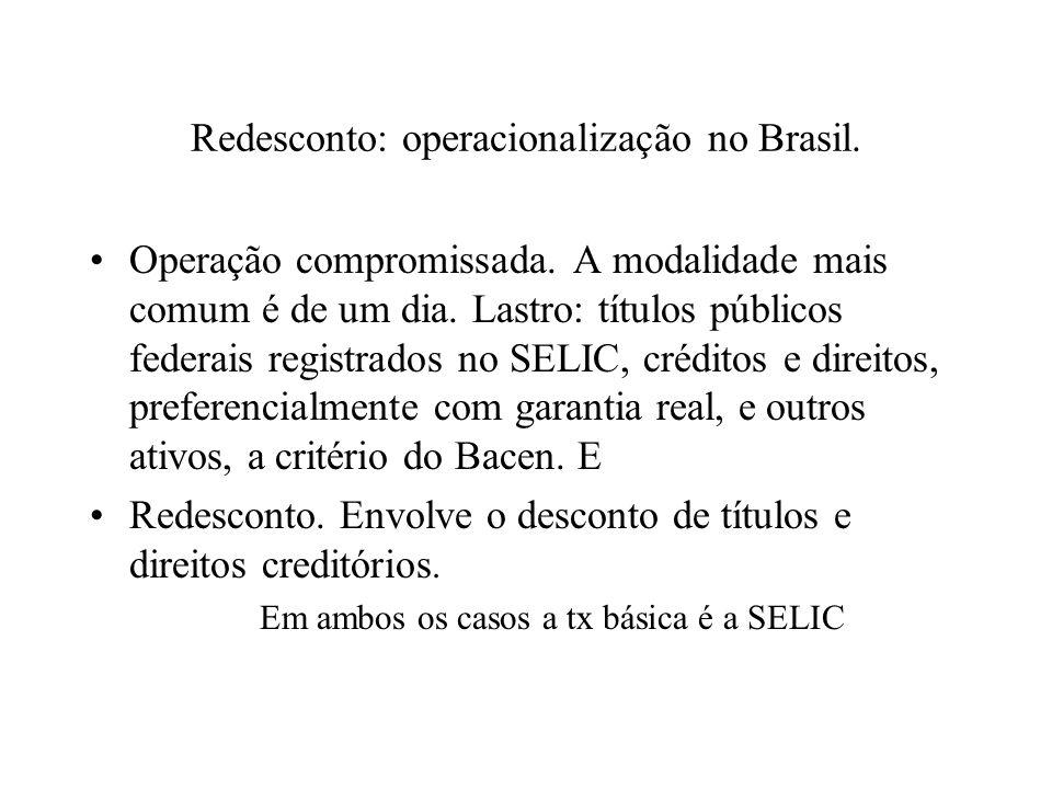 Redesconto: operacionalização no Brasil.