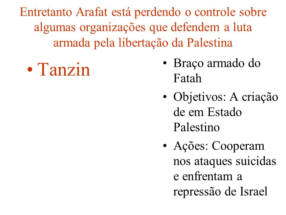 Entretanto Arafat está perdendo o controle sobre algumas organizações que defendem a luta armada pela libertação da Palestina