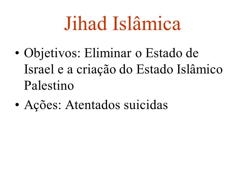 Jihad Islâmica Objetivos: Eliminar o Estado de Israel e a criação do Estado Islâmico Palestino.