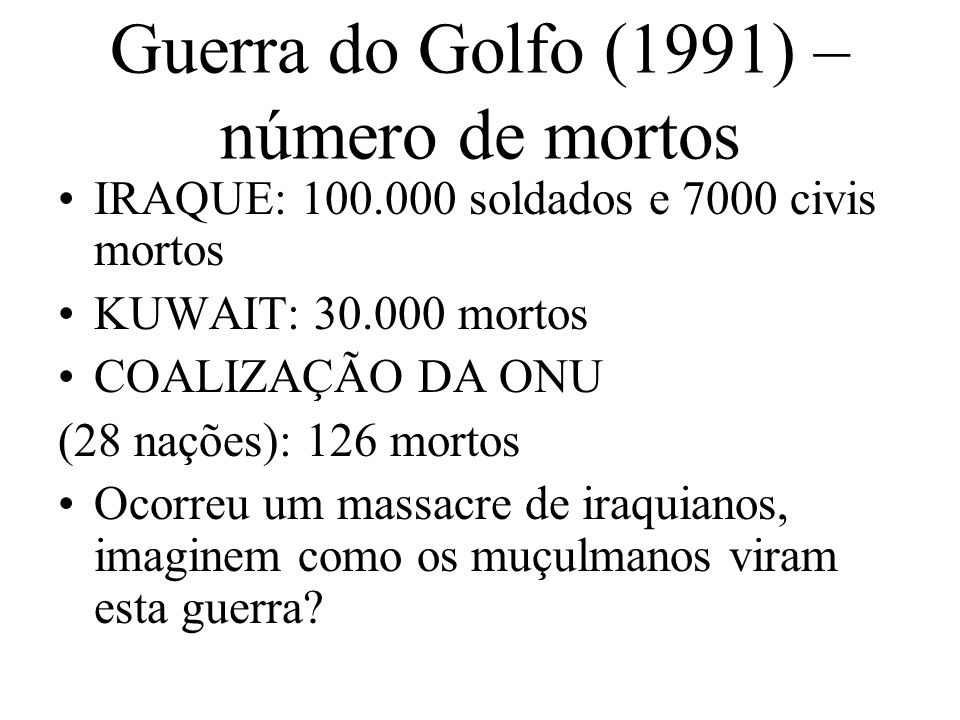 Guerra do Golfo (1991) – número de mortos