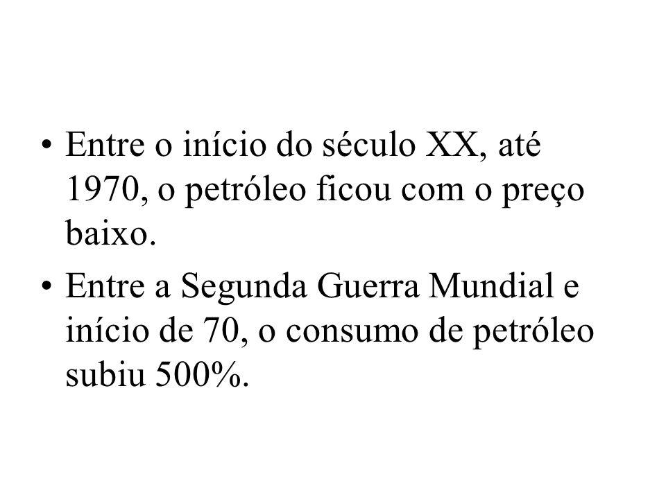 Entre o início do século XX, até 1970, o petróleo ficou com o preço baixo.