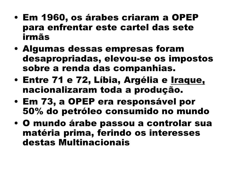 Em 1960, os árabes criaram a OPEP para enfrentar este cartel das sete irmãs