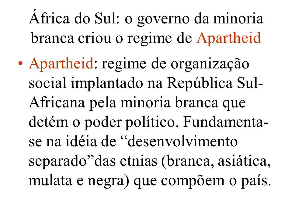 África do Sul: o governo da minoria branca criou o regime de Apartheid