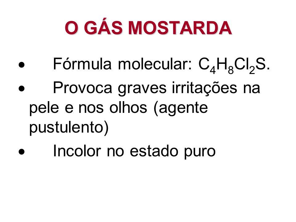 O GÁS MOSTARDA · Fórmula molecular: C4H8Cl2S.