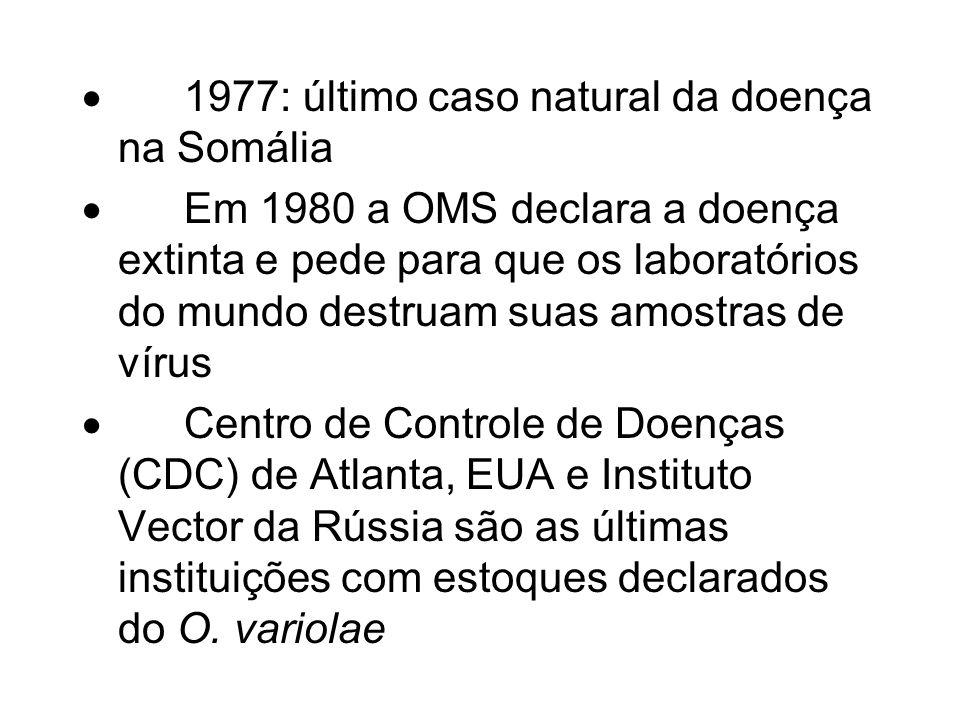 · 1977: último caso natural da doença na Somália
