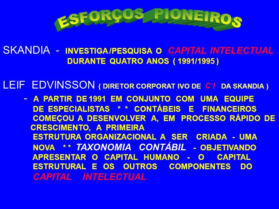 ESFORÇOS PIONEIROS SKANDIA - INVESTIGA /PESQUISA O CAPITAL INTELECTUAL
