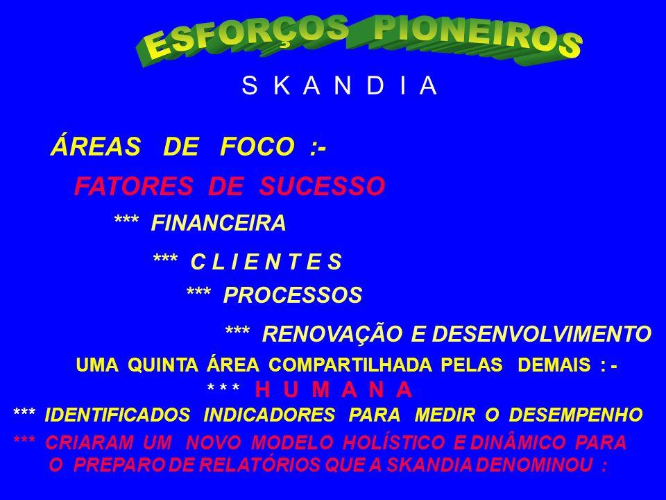 ESFORÇOS PIONEIROS S K A N D I A ÁREAS DE FOCO :- FATORES DE SUCESSO