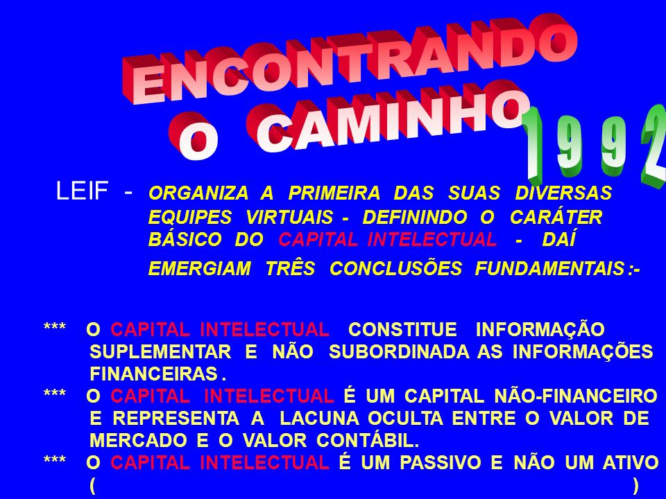 ENCONTRANDO O CAMINHO. 1 9 9 2. LEIF - ORGANIZA A PRIMEIRA DAS SUAS DIVERSAS. EQUIPES VIRTUAIS - DEFININDO O CARÁTER.