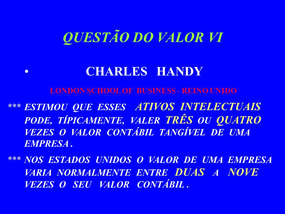QUESTÃO DO VALOR VI CHARLES HANDY